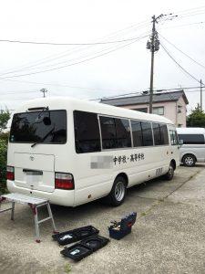 バスのプライバシー保護フィルム(スモークフィルム)