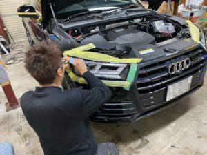 audi Q5 自動車用ヘッドライトプロテクションフィルム施工風景